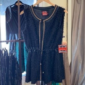 NWT Simon Chang black and gold dressy vest
